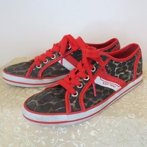 Coach red and black leopard sneakers